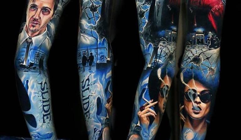 Ha valaki nem ismerné fel a kép témája a Harcosok klubja című film jeleneteiből merít. A tetoválást Lipa készítette.